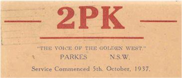 """2PK Parkes """"The Voice of the Golden West"""""""