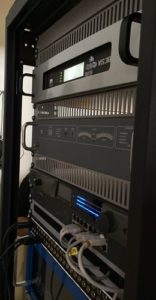View of the master transmission rack, which houses (from top) the Nautel VS300, the old 250W FM backup transmitter, and ancillary equipment as used in the audio chain.