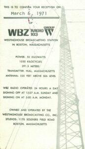 WBZ Boston MA, USA © David Ricquish Collection, Radio Heritage Foundation